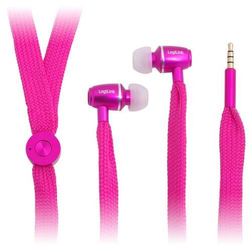 LogiLink Słuchawki stereo z mik. 'sznurówka' różowe