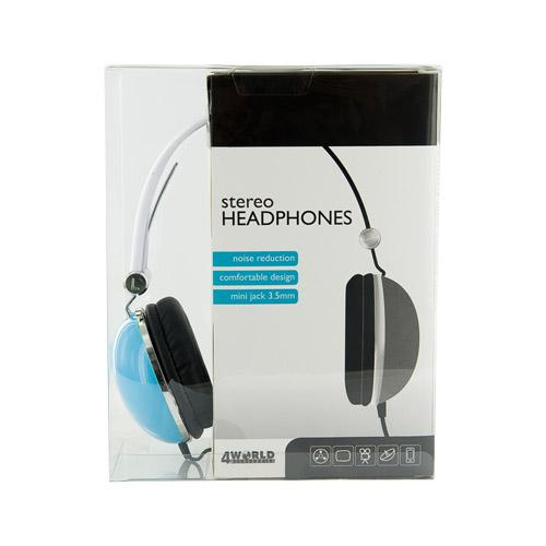 4World Słuchawki stereo pałąk niebieskie 06530