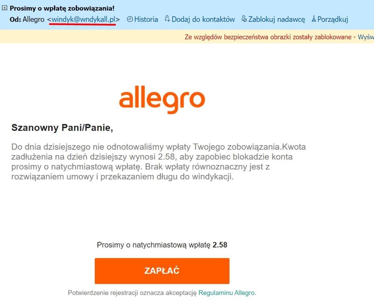 Oszustwo windykacyjne Allegro