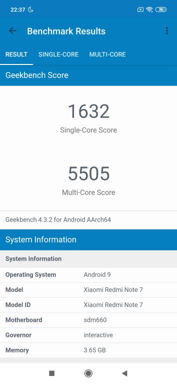 Redmi Note 7 wynik w Geekbench