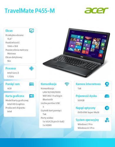 """Acer TravelMate P455-M-34054G50Mtkk Win7Pro (Win8.1Pro) i3-4005U/1*4GB/500GB/IntelHD/WiFi abgn/DVD RW/BT/FingerPrint/15.6"""""""