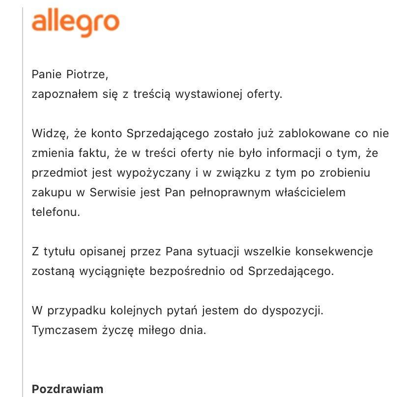 Informacja o relacji allegro-bestcena (Źródło: @psciechowski na Twitterze)