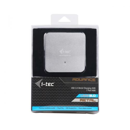 i-Tec USB 3.0 Metal Charging HUB 7 Portów z zasilaczem, Plug & Play, funkcja ładowania