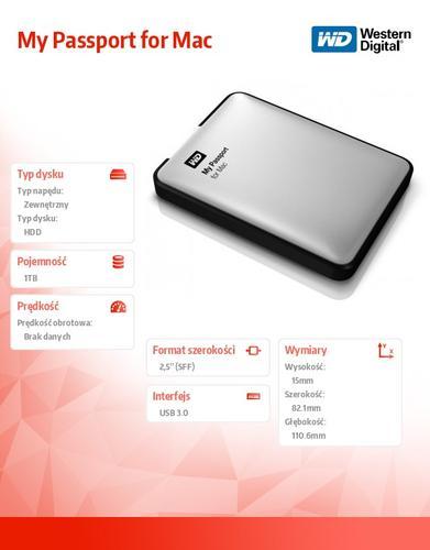 Western Digital Passport WDBLUZ0010BSL 1TB 2,5'' USB3.0-czarny