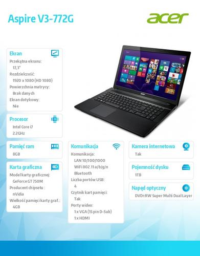 "Acer Aspire V3-772G-747a8G1TMamm 17.3"" FHD/i7-4702MQ/GT 750M+4GB/8GB/1TB/DVD-SM DL/SD card reader/WiFi+BT 4.0/HD webcam/6c/Linux/Gold"