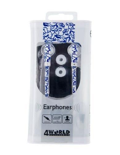 4World Słuchawki MP3 Pattern Flat | jack 3.5mm | 1.2m | Niebieskie kwiaty 08478