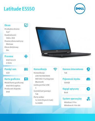 """Dell Latitude E5550 Win78.1Pro(64-bit win8, nosnik) i5-5300U/500GB/4GB/BT 4.0/4-cell/Office 2013 Trial/KB-Baclit/15.6""""HD/3Y NBD"""