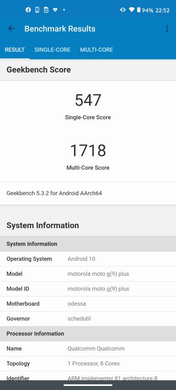 Motorola Moto G9 Plus w Geekbench 5