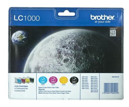 BROTHER Tusz LC1000VALBP=LC-1000VALBP, Zestaw CMYBk, LC1000C+LC1000M+LC1000Y+LC1000BK