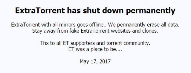ExtraTorrent Zamknięty