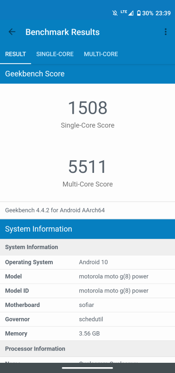 Motorola Moto G8 Power - wynik w Geekbench 4