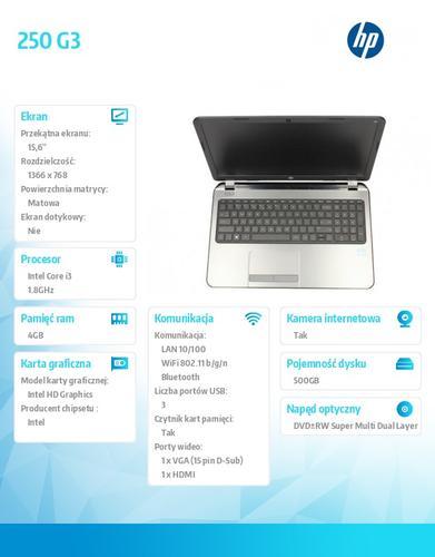 HP 250 G3 i3-3217U W78P 500/4G/DWRW/15,6 J0Y09EA