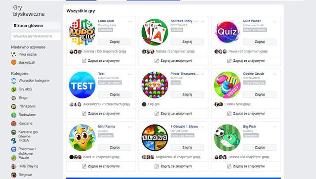 Facebook oferuje opcje grania na platformie