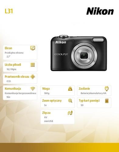 Nikon Coolpix L31 16,1M 5xOZ, 720p czarny