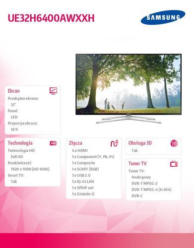 Samsung 32'' TV Slim LED Full HD UE32H6400AWXXH