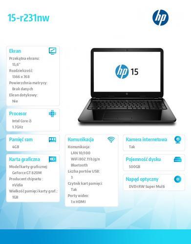 HP #PV15-r231nw i3-4005 W8H 500/4GB/DVR/15,6 L0L81EA