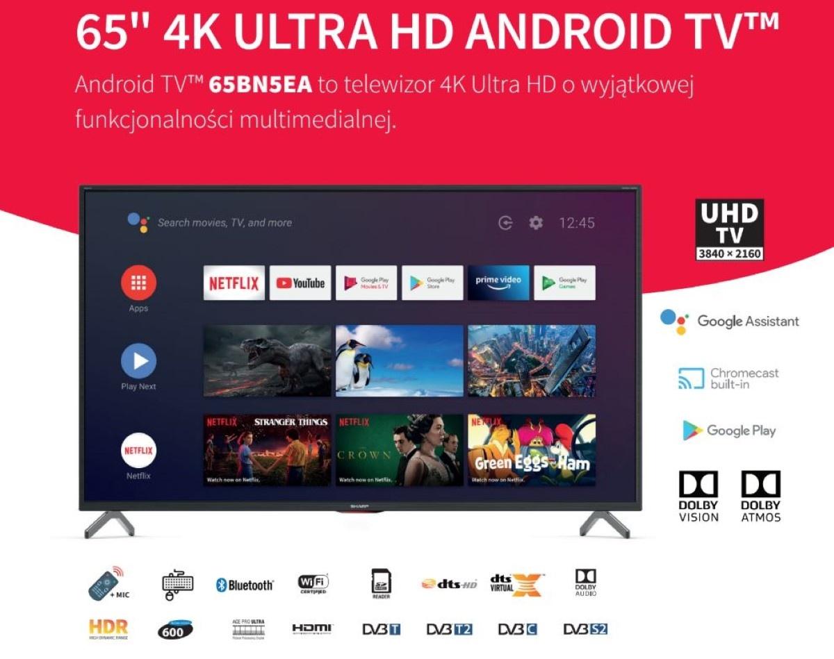 65-calowy telewizor Sharpa z 4K grafika promocyjna