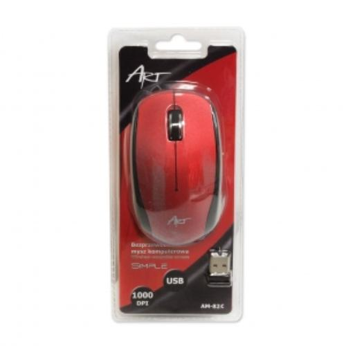 ART Mysz bezprzewodowo-optyczna AM-82C czerwona
