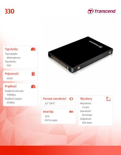 "Transcend 330 64GB PATA 2.5"" 119/67 MB/s"