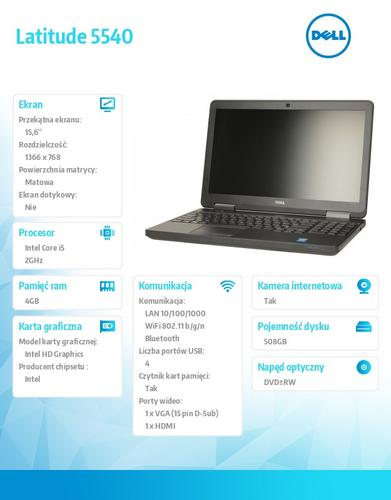 Dell Latitude E5540 W78.1P (lic 64-bit Win8, nosnik) i5-4310U/500+8GB SSHD/ 4GB/HD4400/DVD-RW/6Cell/3Y NBD/15'6HD