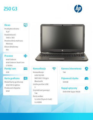 HP 250 G3 N2840 W8.1 500/2G/DVD+-RW/15,6 K3W90EA