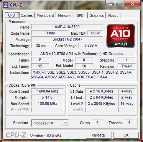 AMD A10 5700 CPU-Z