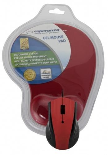 ESPERANZA Przewodowa mysz optyczna z podkładką żelową. 1200 DPI, trzy przyciski, czerwona
