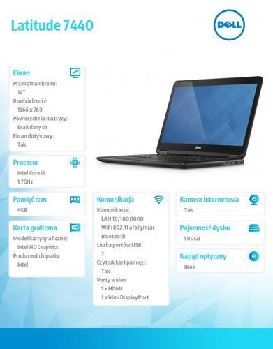 """Dell Latitude E7440 W78.1P (lic. 64-bit Win8, nosnik) I5-4210U/500GB/4GB//HD4400/BT 4.0/4CELL/38M NBD/14""""HD/KB_BLIT/3YNBD"""
