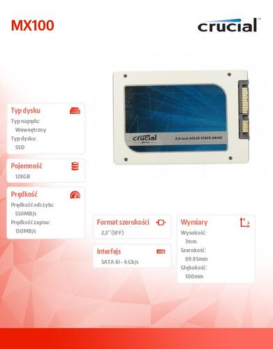 Crucial MX100 128GB SATA3 2.5 550/150 MB/s 7mm