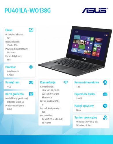"""Asus PU401LA-WO138G Preload W7PR64 (downgrage from Win8Pro) i5-4210U/4GB/500GB+16G SSD Cache/HD4400/Office 2013 Trial/14.0"""" HD AG"""