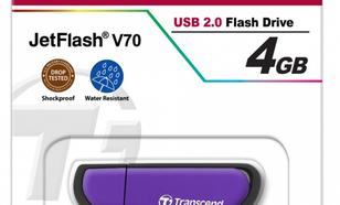 Transcend JETFLASH V70 4GB USB2.0 VIOLET SHOCK/WATER PROOF