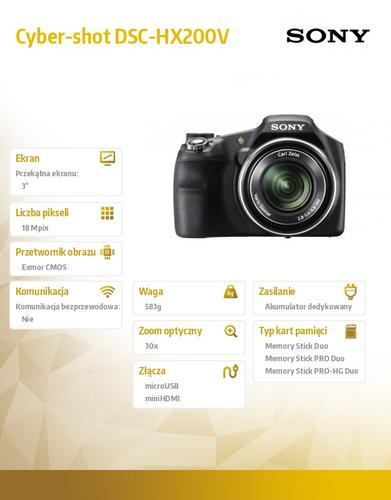 Sony Cyber-shot DSC-HX200V czarny