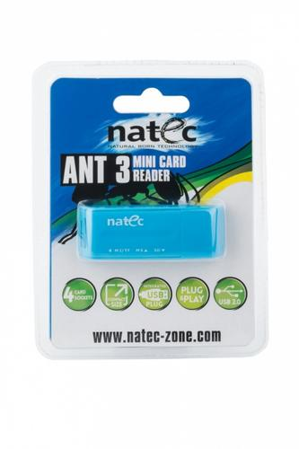 NATEC Czytnik kart pamięci ANT 3 Mini (SDHC/MMC/M2/Micro SD) Blue
