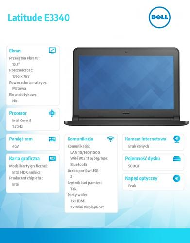 "Dell Latitude E3340 W7Pro i3-4005U/500GB/4GB/Integrated HD4400/13.3""HD /3Y NBD"