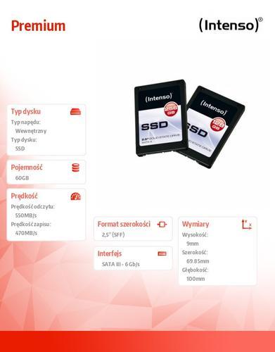 INTENSO SSD Premium 60GB 2,5'' Sata III 550/470MB/s 9mm