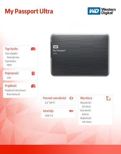 Western Digital WD Passport WDBMWV0020BBK 2TB2,5''USB3.0-czarny