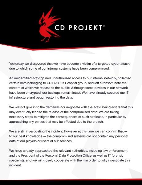 Oświadczenie CD Projekt RED na temat włamu do baz danych