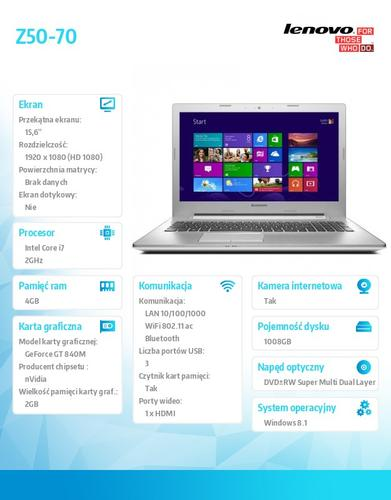 "Lenovo Z50-70 59-440260 Win8.1 i7-4510U/4GB/1TB+8SSHD/GT 840M 2GB/15.6"" White"