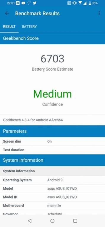 Wynik baterii w Geekbench