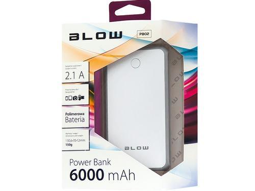 Blow Power Bank 6000mAh 1xUSB Bialo-Szary (White-Grey)