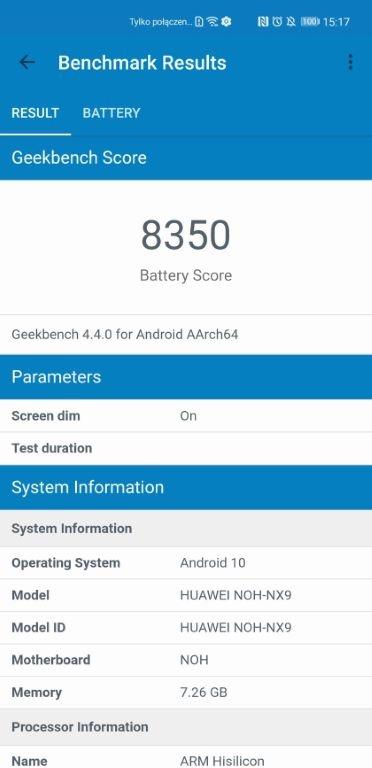 Wynik benchmarku baterii Geekbench dla Huawei Mate 40 Pro