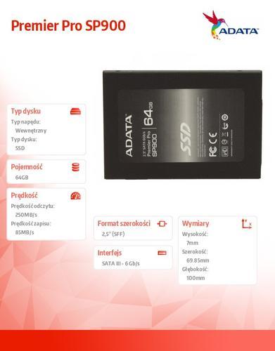 A-Data SSD Premier Pro SP900 64GB 2.5'' SATA3 SF2281 545/525 MB/s