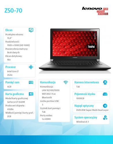 "Lenovo Z50-70 59-440266 Win8.1 i7-4510U/4GB/1TB+8SSHD/GT 840M 2G/15.6"" Black"