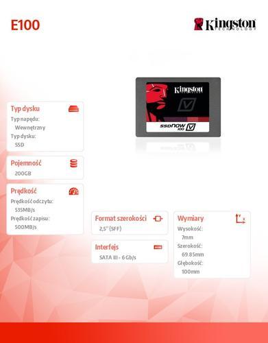 Kingston SSD E100 SERIES 200GB SATA3 2.5' Server