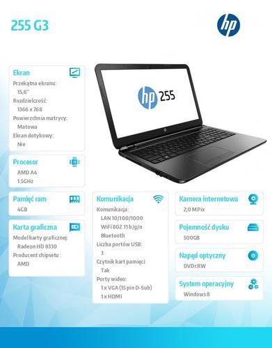 HP 255 G3 A4-5000 W8H 500/4G/DWRW/15,6 K3X28EA