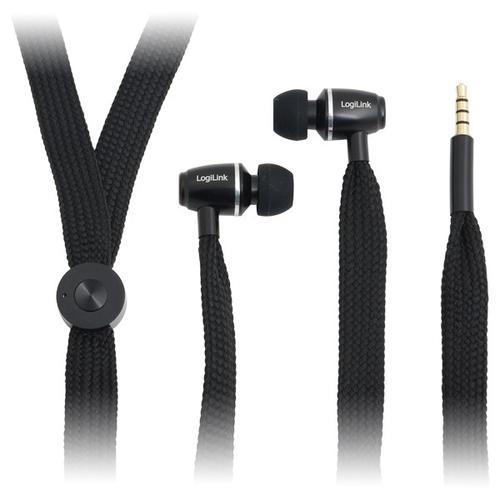 LogiLink Słuchawki stereo z mik. 'sznurówka' czarne