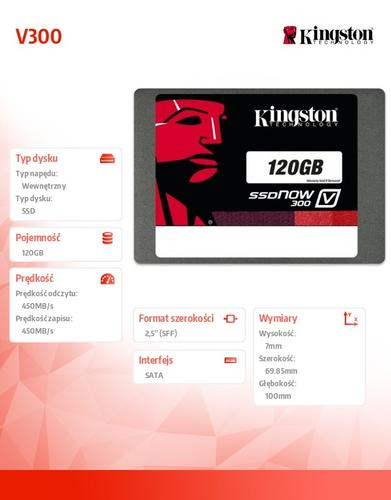 "Kingston V300 SERIES 120GB SATA3 2,5"" 450/450MB/s 7mm"