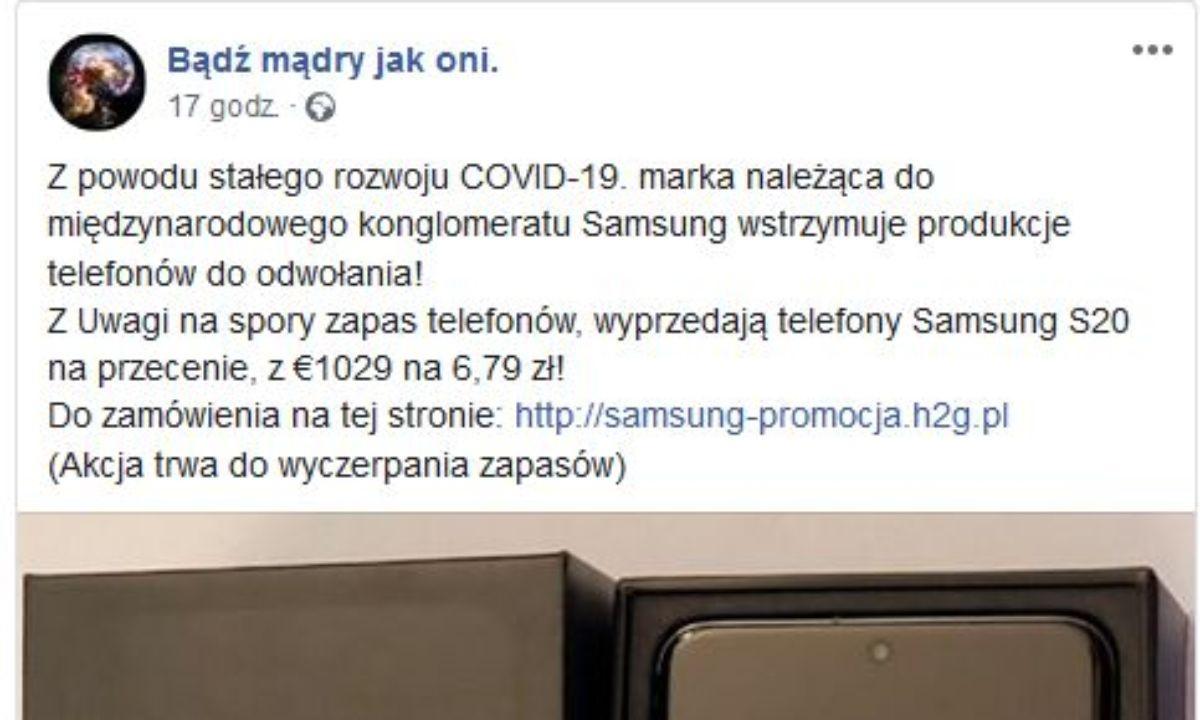 Post o rzekomej promocji na telefon Samsung