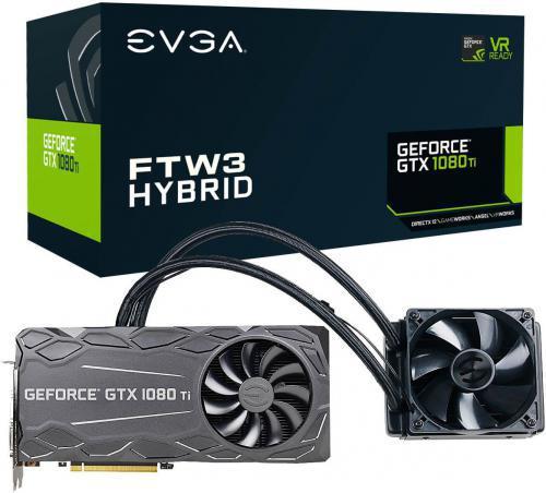 EVGA GeForce GTX 1080 Ti FTW3 Hybrid Gaming 11GB GDDR5X (352 bit), DVI-D, HDMI, 3xDisplayPort, BOX (11G-P4-6698-KRR)