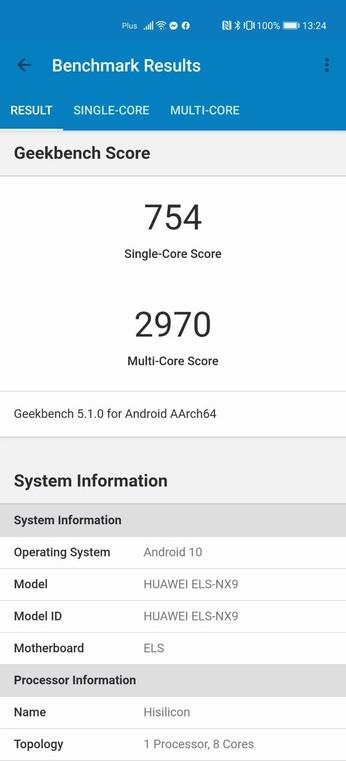 Wyniki Geekbench 5 na Huawei P40 Pro
